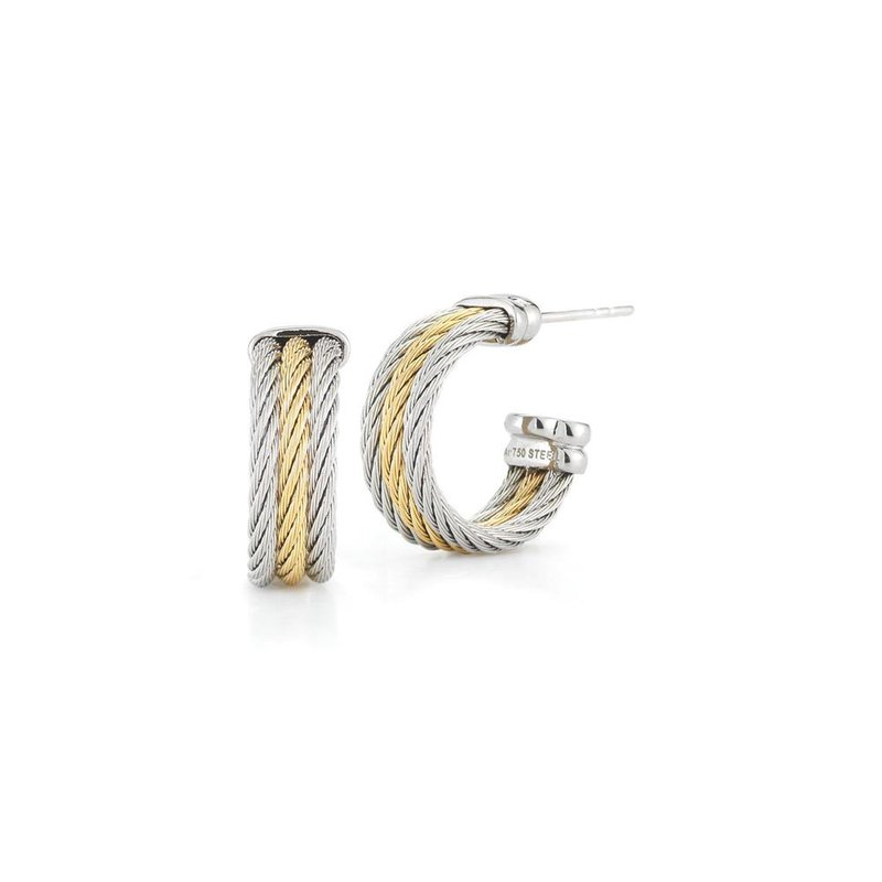 ALOR Yellow & Grey Cable Petite Three Row Hoop Earrings with 18kt White Gold