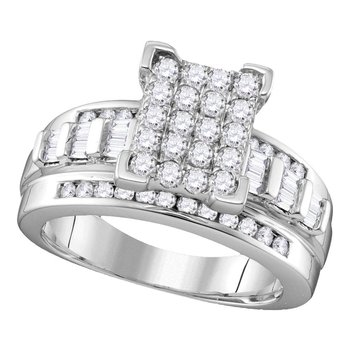 Sterling Silver Womens Round Diamond Rectangle Cluster Bridal Wedding Engagement Ring 1.00 Cttw