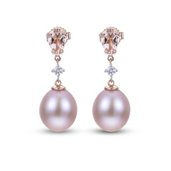 14K Rose Gold Freshwater Pearl Earrings