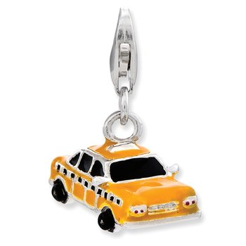 Sterling Silver Enameled Taxi Cab w/Lobster Clasp Charm