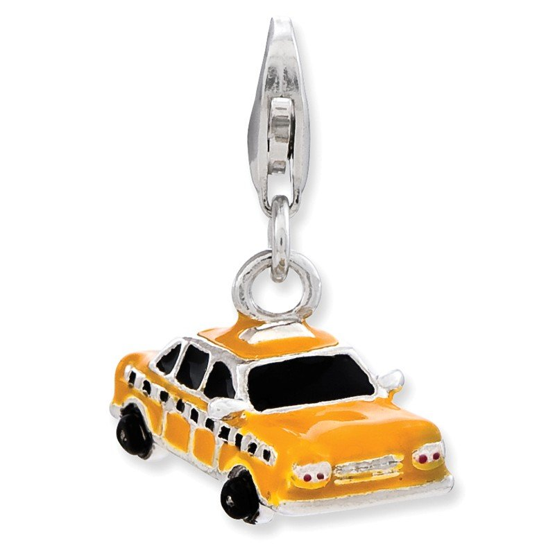 Quality Gold Sterling Silver Enameled Taxi Cab w/Lobster Clasp Charm