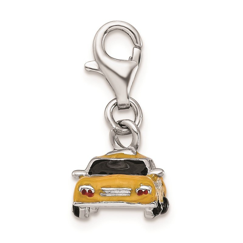 Quality Gold Sterling Silver Amore La Vita Rhodium-plated Enameled Taxi Cab Charm