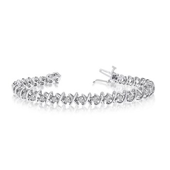 14k White Gold 2 Ct. Diamond XO Tennis Bracelet