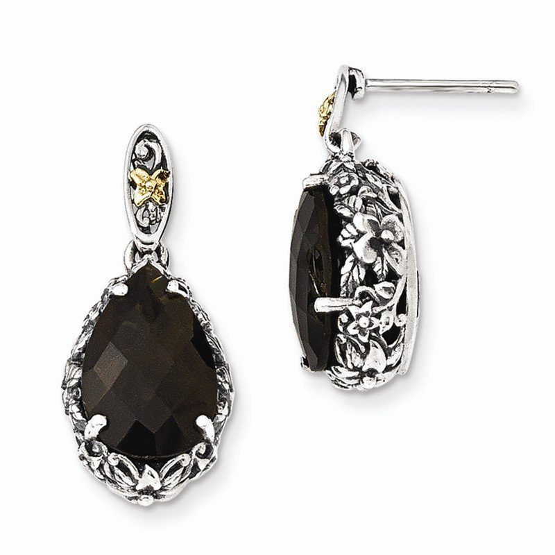 Shey Couture Sterling Silver w/14k Smoky Quartz Post Dangle Earrings