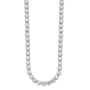 Sterling Silver 17in Rhodium-plated Fancy Mulitple CZ Necklace