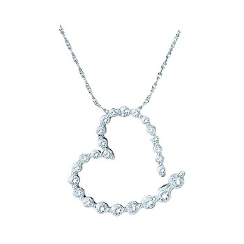 14kt White Gold Womens Round Diamond Graduated Heart Journey Pendant 1.00 Cttw