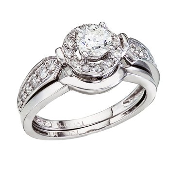 14K White Gold .75 Ct Round Diamond Band Bridal Ring Set