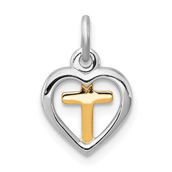 Sterling Silver Rhodium-plated & Vermeil Cross in Heart Charm