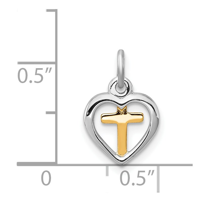 Quality Gold Sterling Silver Rhodium-plated & Vermeil Cross in Heart Charm