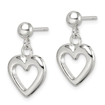 Sterling Silver Polished Dangle Heart Post Earrings