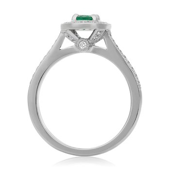 Oval Cut Milgrain Emerald Ring