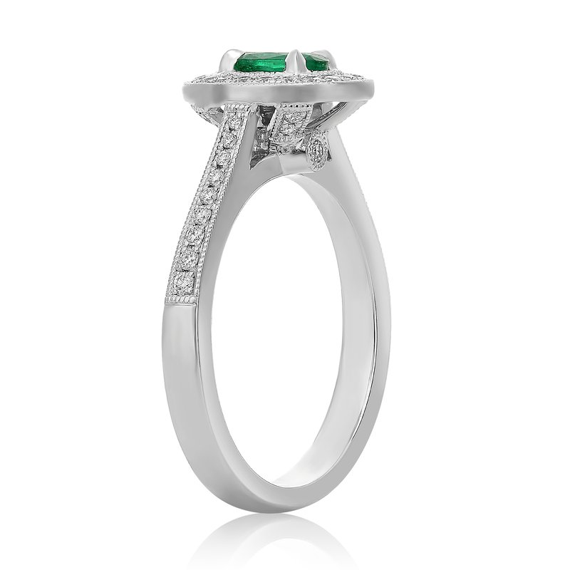 Roman & Jules Oval Cut Milgrain Emerald Ring