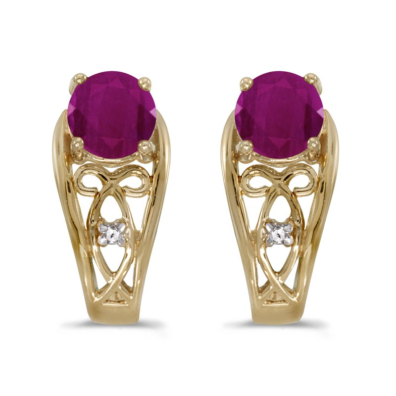 Color Merchants 10k Yellow Gold Round Ruby And Diamond Earrings
