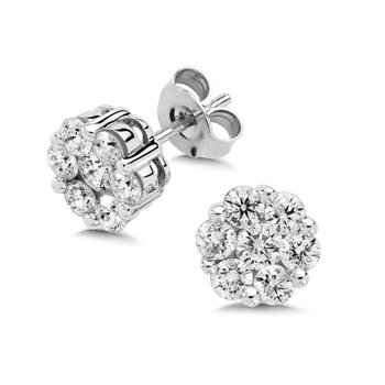 Pave set Diamond Cluster Stud Earrings in 14k White Gold (1/6 ct. tw.)