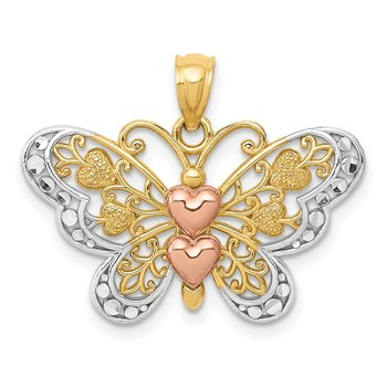 14k Two-tone w/White Rhodium Butterfly Pendant