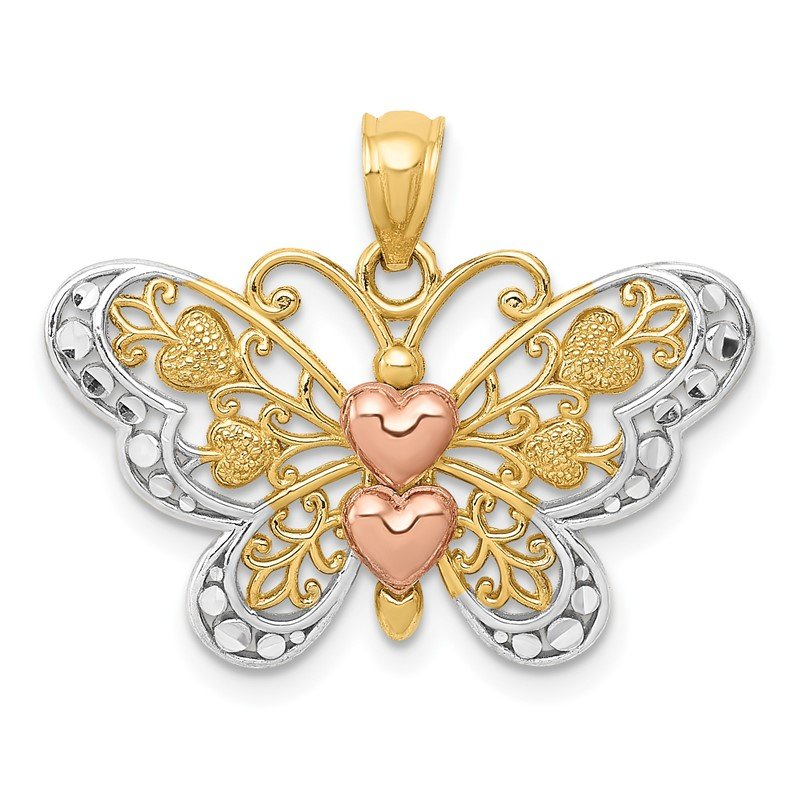 Quality Gold 14k Two-tone w/White Rhodium Butterfly Pendant