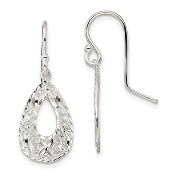 Sterling Silver Polished Filigree Diamond Cut Teardrop Dangle Earrings