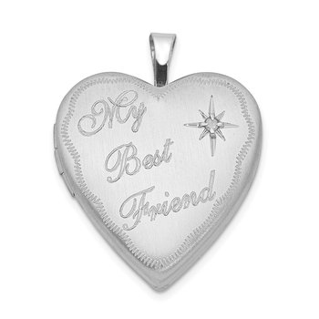 Sterling Silver Rhodium-plated 20mm Best Friend with Diamond Heart Locket