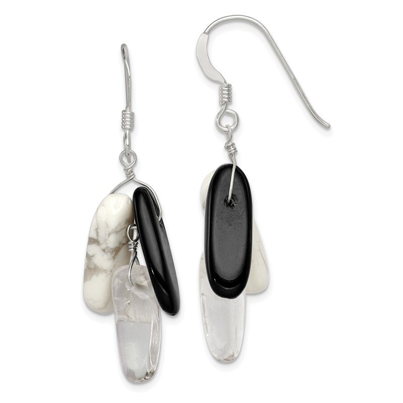 Quality Gold Sterling Silver Black Agate White Howlite and Rock Quartz Earrings
