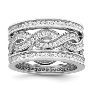 Sterling Silver Brilliant Embers Rhodium-plated CZ 3 Piece Ring Set