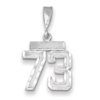 14k White Gold Small Diamond-cut Number 73 Charm