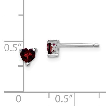 Sterling Silver 4mm Heart Garnet Post Earrings
