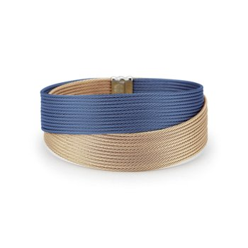 Blueberry & Carnation Cable Crossed Wrap Bracelet with 18kt Yellow Gold