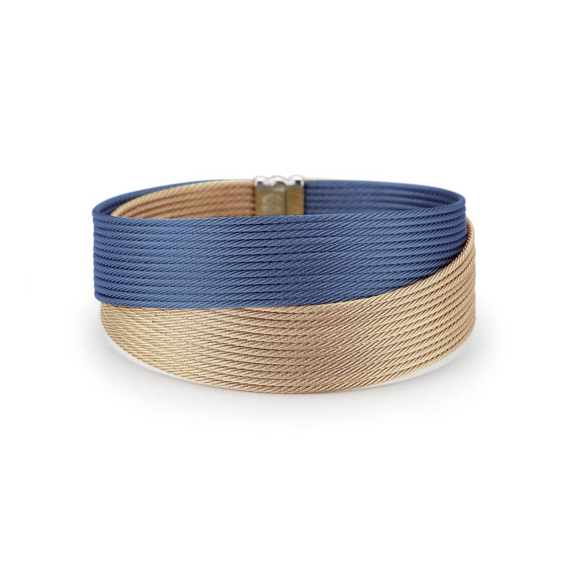 ALOR Blueberry & Carnation Cable Crossed Wrap Bracelet with 18kt Yellow Gold