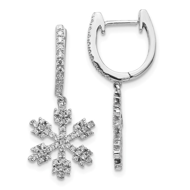 Quality Gold 14k White Gold Diamond Snowflake Earrings