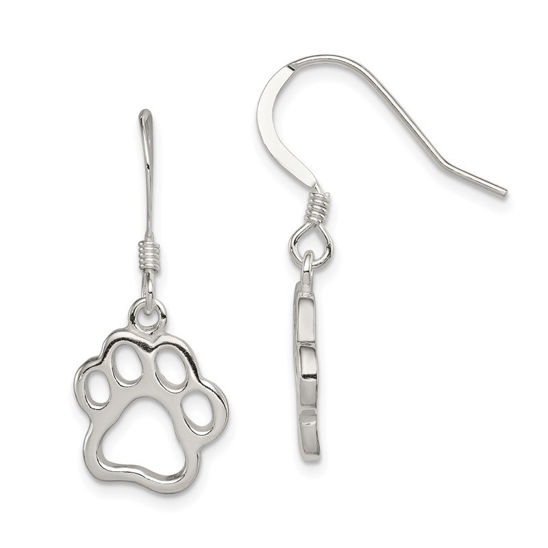 Quality Gold Sterling Silver Polished Paw Print Shepherd Hook Earrings