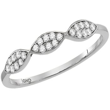 10kt White Gold Womens Round Diamond Oval Cluster Stackable Band Ring 1/8 Cttw
