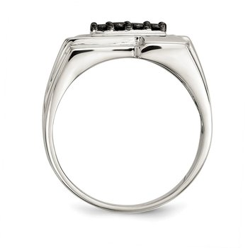 Sterling Silver Mens Black Diamond Polished Ring