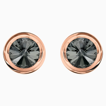 Round Cufflinks, Gray, Rose-gold tone plated
