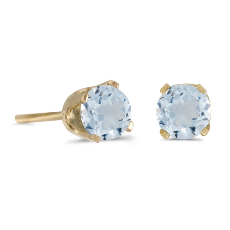 Color Merchants 14k Yellow Gold 4 mm Round Aquamarine Stud Earrings