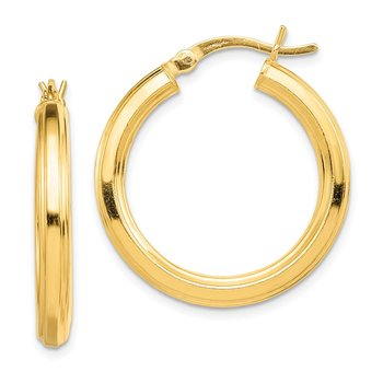 Sterling Silver Gold-flashed 3x25mm Grooved Hoop Earrings