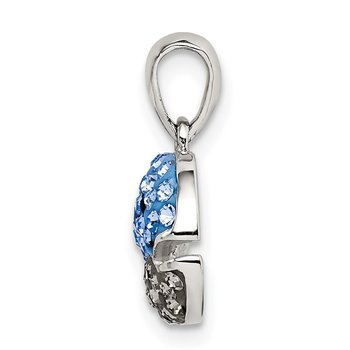 Sterling Silver Blue and Grey Preciosa Crystal Whale Pendant