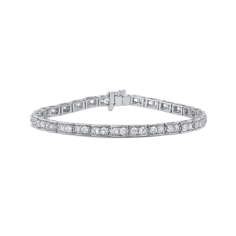 Essentials 14K White Gold 3.50 ct Round White Diamond Tennis Bracelet