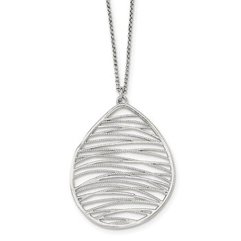 Sterling Silver Rhodium-plated Polished w/ 1.75in Ext. Necklace