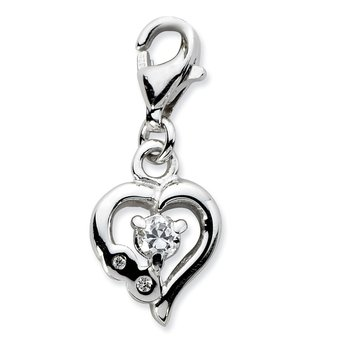 Sterling Silver Click-on CZ Polished Heart Charm