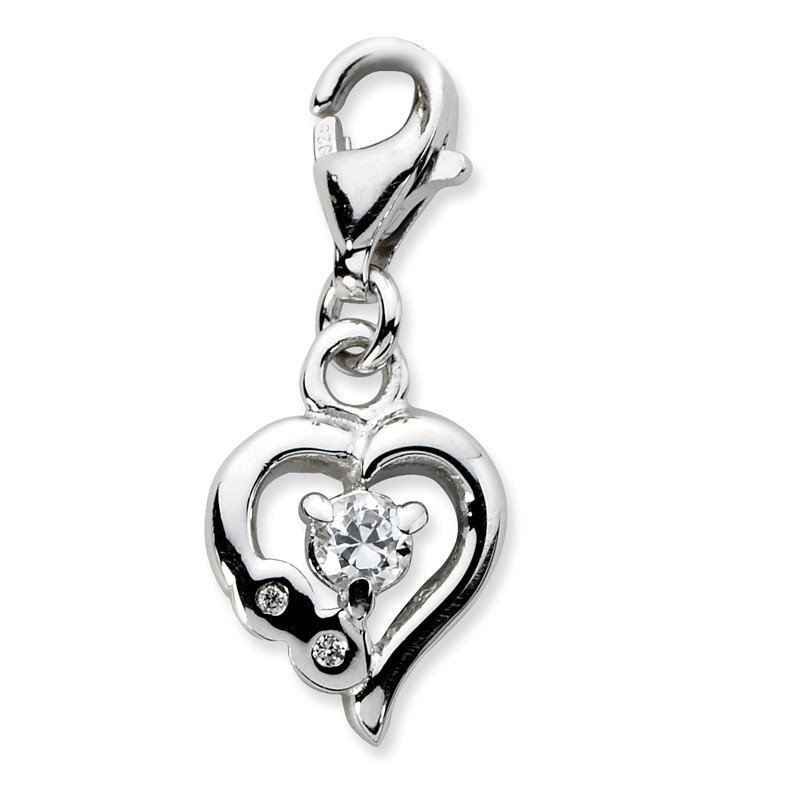 J.F. Kruse Signature Collection Sterling Silver RH Click-on CZ Polished Heart Charm