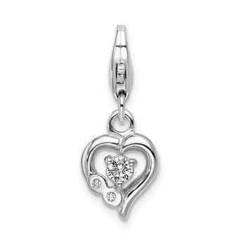 Sterling Silver RH Click-on CZ Polished Heart Charm
