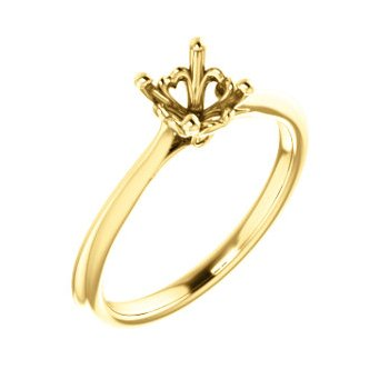 18K Yellow 5.8 mm Round Engagement Ring Mounting