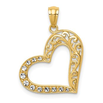 14K and White Rhodium Polished Filigree Heart Pendant