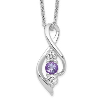 Sterling Silver Survivor Clear & Purple Swarovski Topaz Legacy Necklace