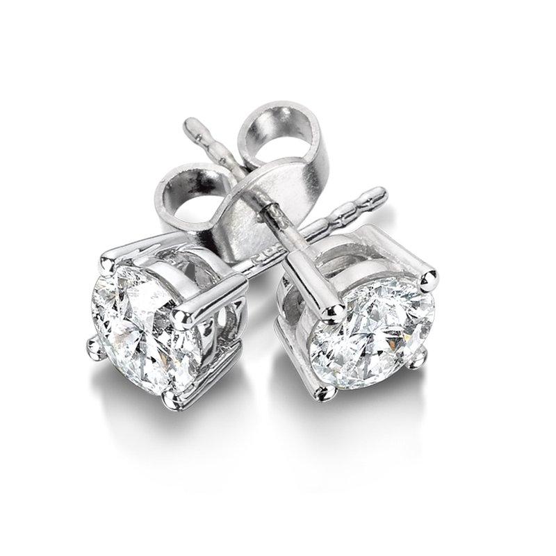 SDC Creations Four Prong Diamond Studs in 14k White Gold Screw-back posts (3/4ct. tw.)