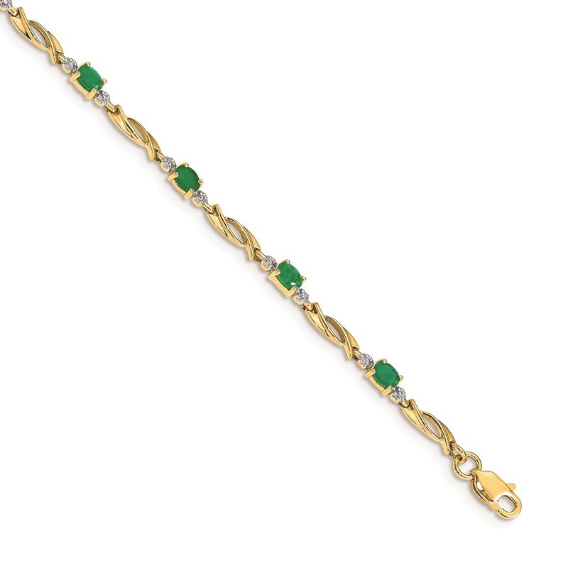 JC Sipe Essentials 14k White Gold Diamond and Emerald Bracelet