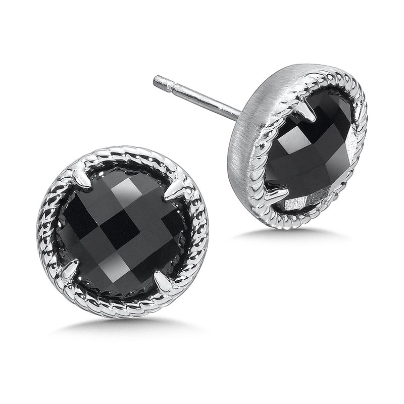 Colore SG Sterling Silver Onyx Essentials Post Earrings