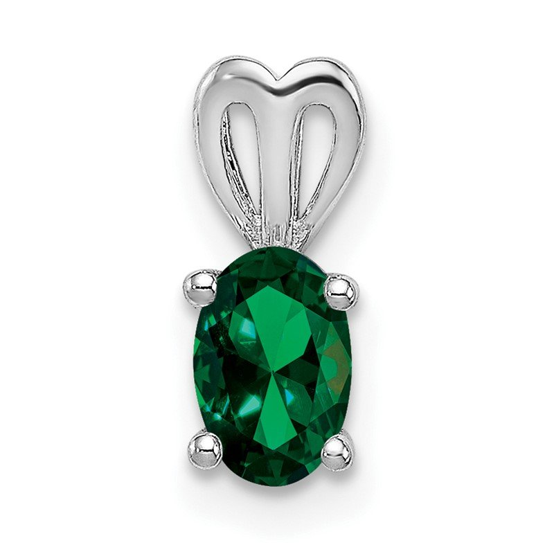 Arizona Diamond Center Collection Sterling Silver Rhodium-plated Created Emerald Pendant