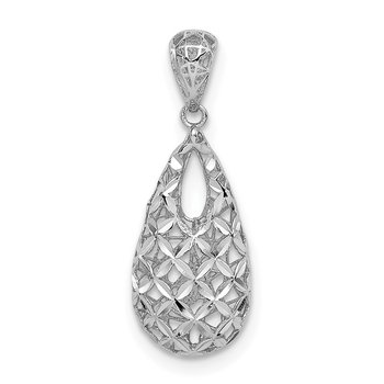 Sterling Silver Rhodium-plated D/C Hollow Tear Drop Pendant