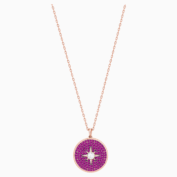 Locket Pendant, Pink, Rose-gold tone plated